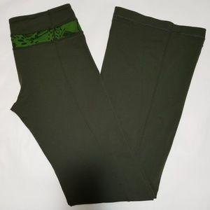 Lululemon Green Flared Leg Reversible Yoga Pants